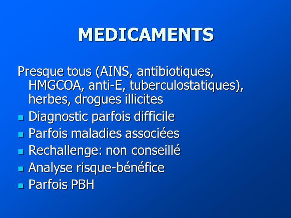MEDICAMENTS Presque tous (AINS, antibiotiques, HMGCOA, anti-E, tuberculostatiques), herbes, drogues illicites.