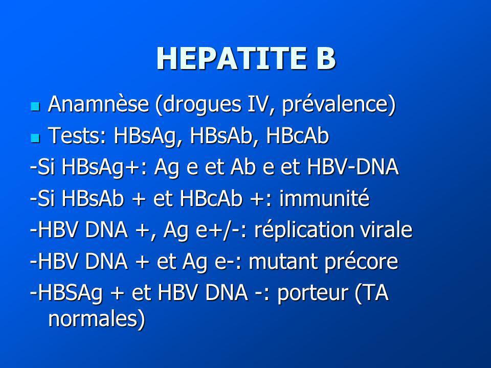 HEPATITE B Anamnèse (drogues IV, prévalence)