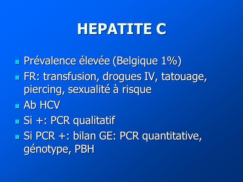 HEPATITE C Prévalence élevée (Belgique 1%)