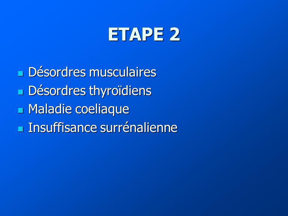 ETAPE 2 Désordres musculaires Désordres thyroïdiens Maladie coeliaque