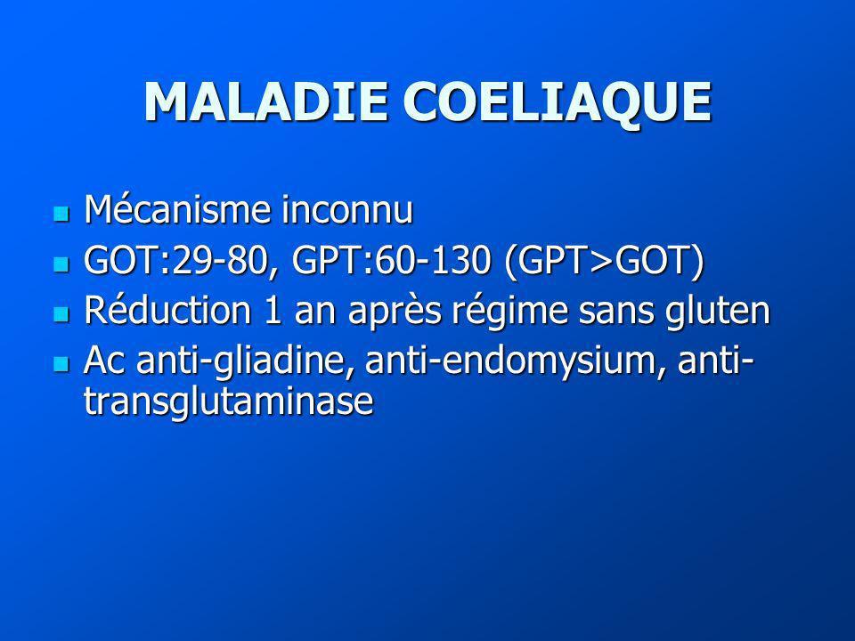 MALADIE COELIAQUE Mécanisme inconnu GOT:29-80, GPT:60-130 (GPT>GOT)