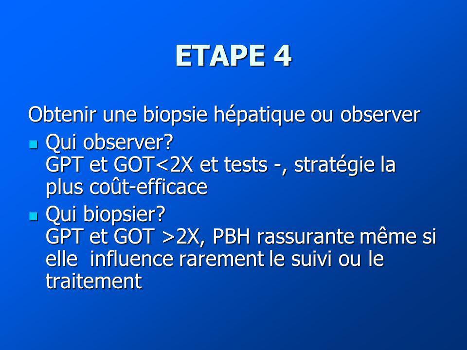 ETAPE 4 Obtenir une biopsie hépatique ou observer