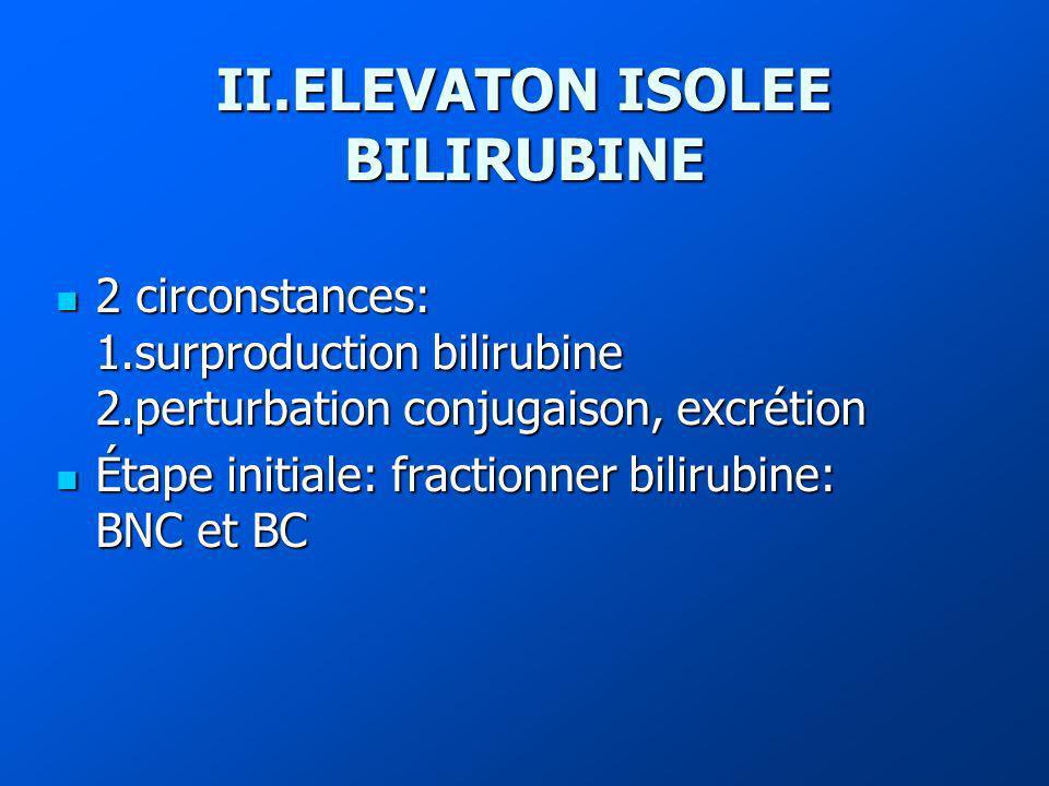 II.ELEVATON ISOLEE BILIRUBINE