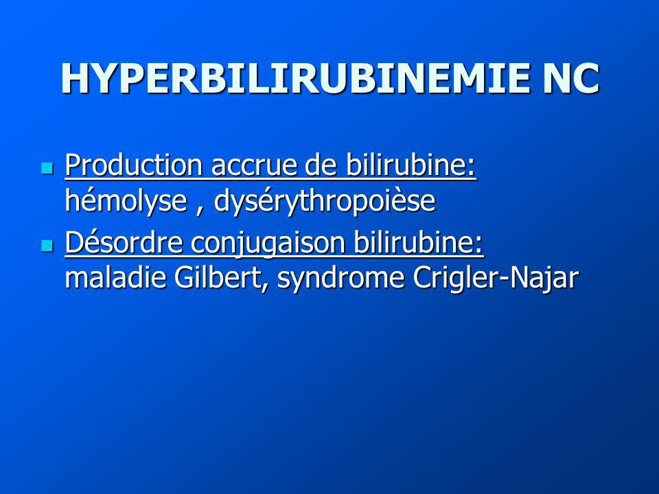 HYPERBILIRUBINEMIE NC