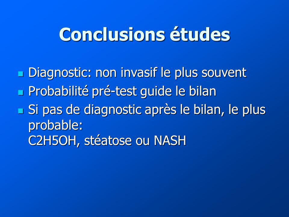 Conclusions études Diagnostic: non invasif le plus souvent