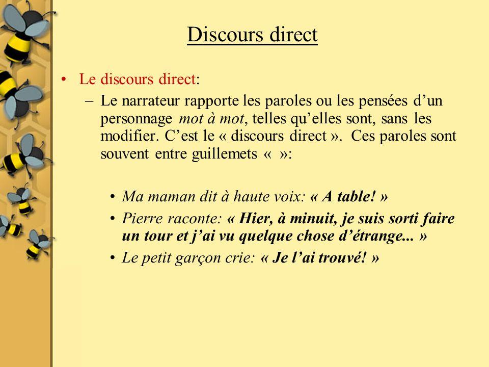 Discours direct Le discours direct: