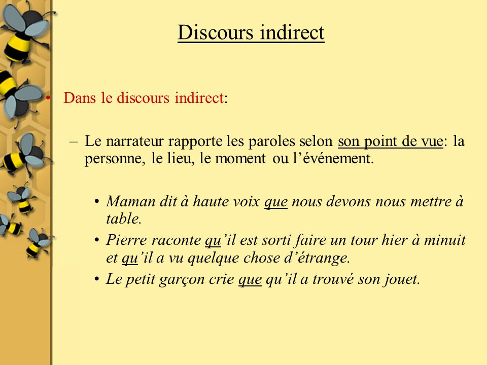 Discours indirect Dans le discours indirect: