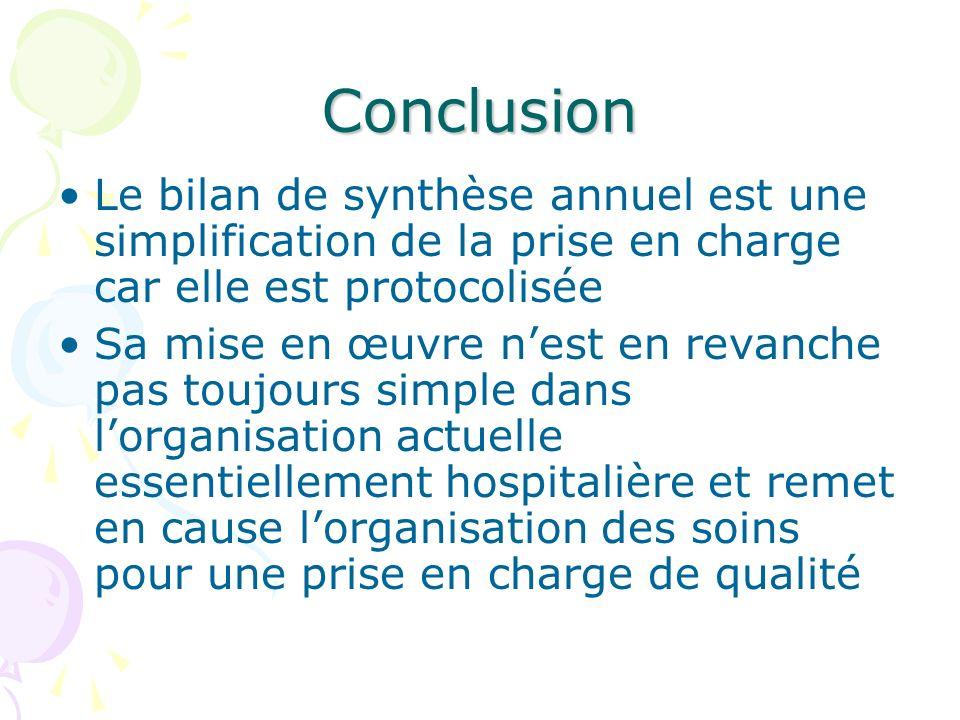 Conclusion Le bilan de synthèse annuel est une simplification de la prise en charge car elle est protocolisée.