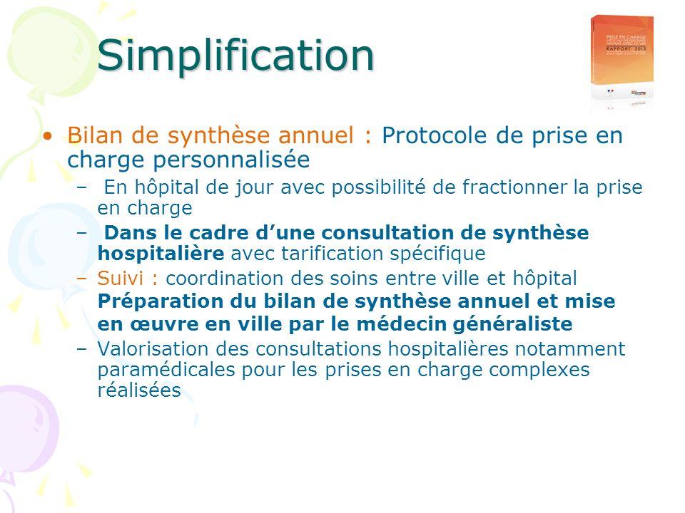 Simplification Bilan de synthèse annuel : Protocole de prise en charge personnalisée.