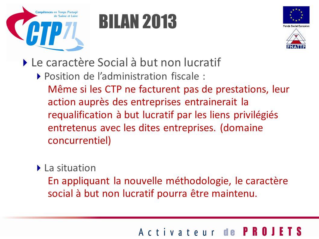 BILAN 2013 Le caractère Social à but non lucratif
