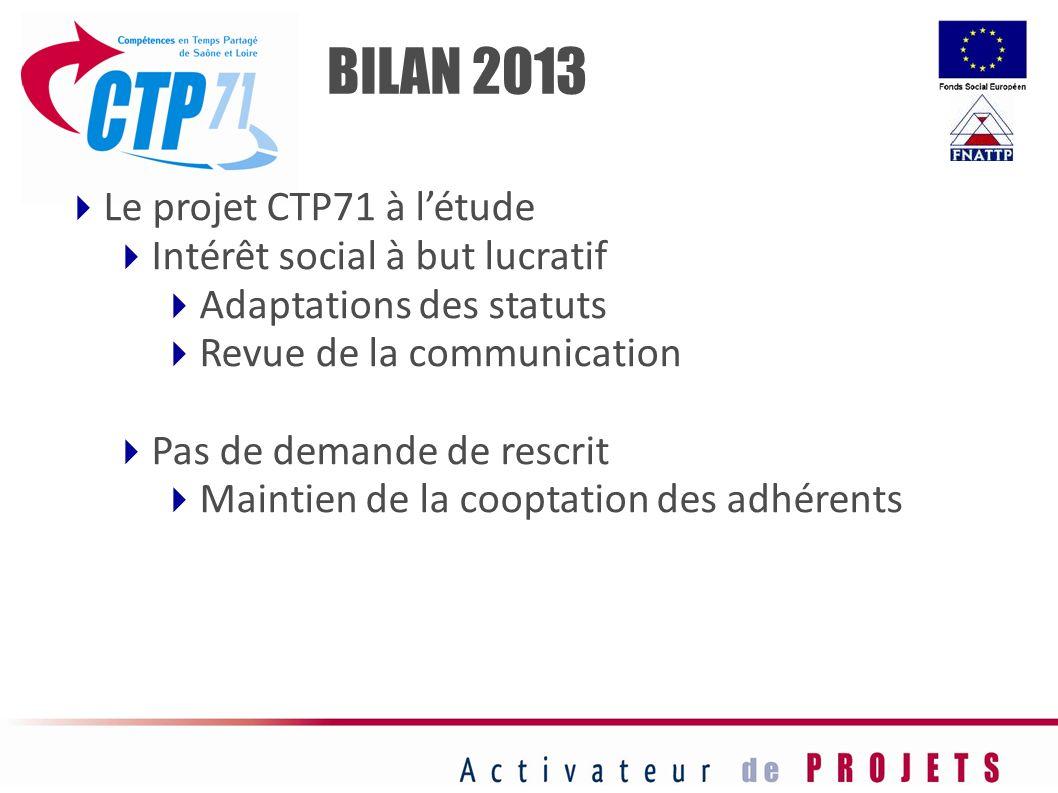 BILAN 2013 Le projet CTP71 à l'étude Intérêt social à but lucratif