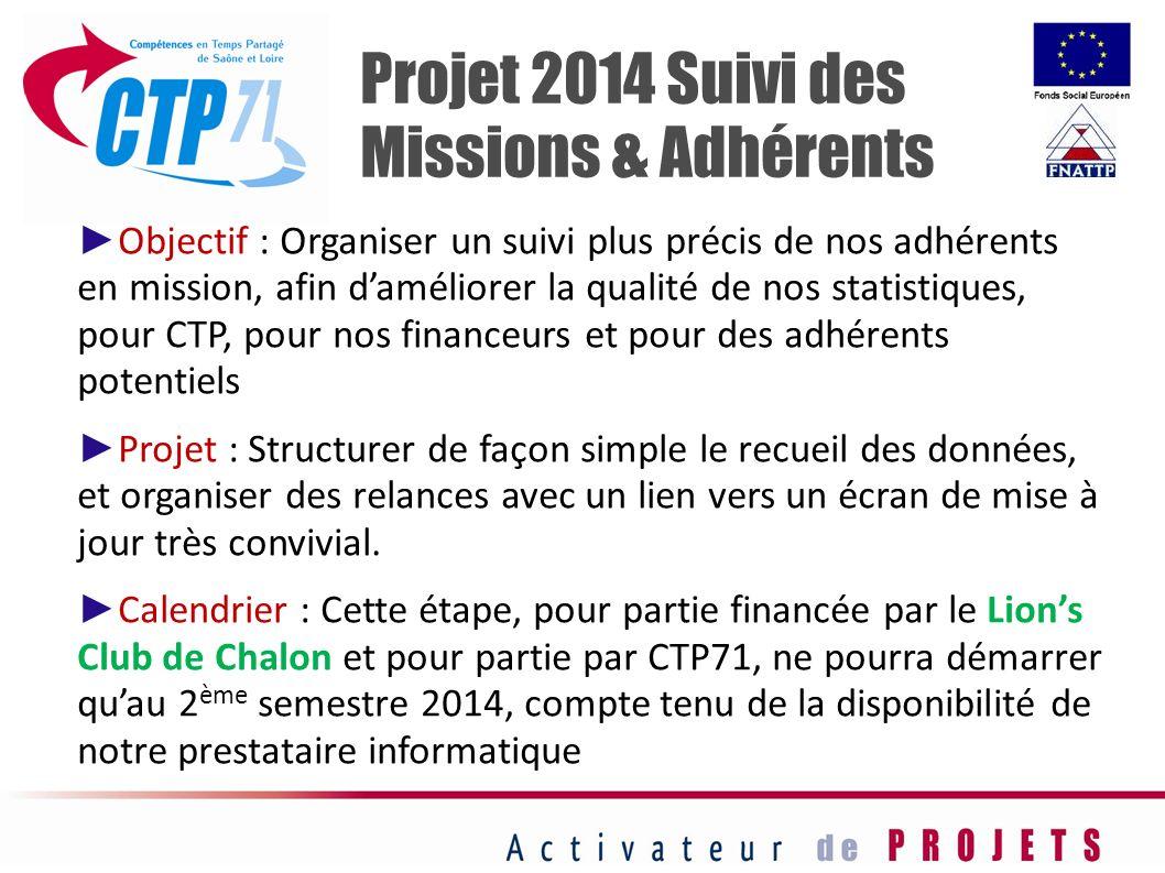 Projet 2014 Suivi des Missions & Adhérents