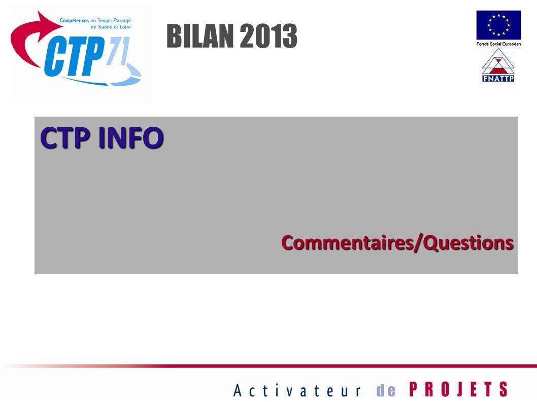 BILAN 2013 CTP INFO Commentaires/Questions 26