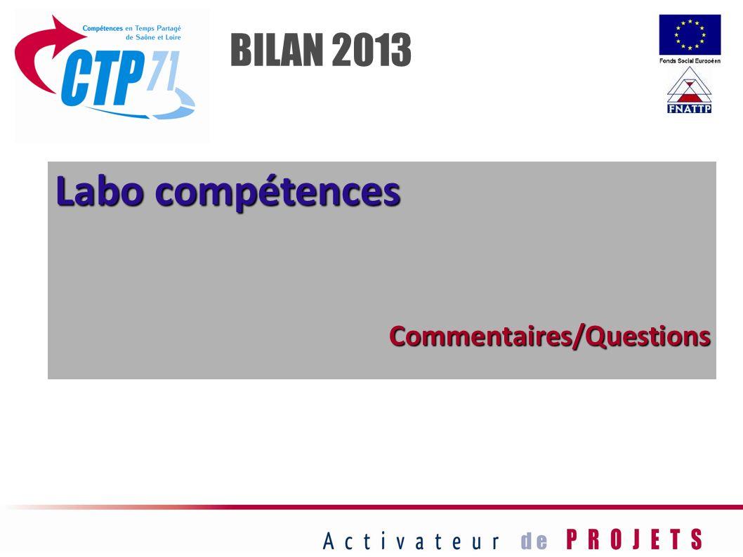 BILAN 2013 Labo compétences Commentaires/Questions 29