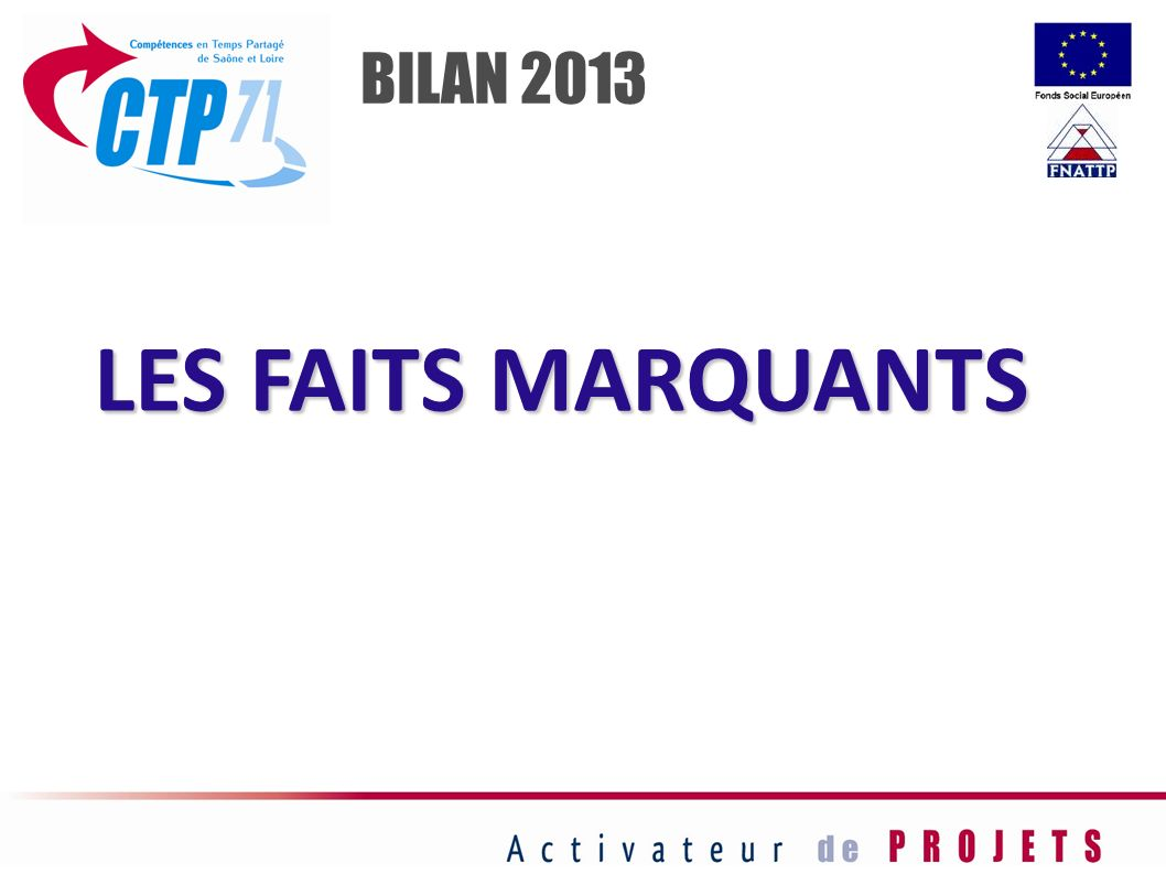 BILAN 2013 LES FAITS MARQUANTS 3