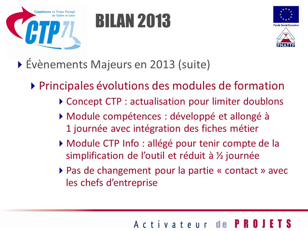 BILAN 2013 Évènements Majeurs en 2013 (suite)