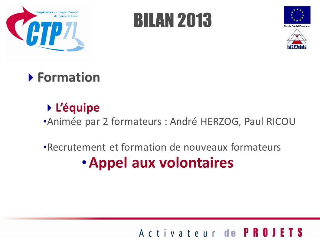 BILAN 2013 Appel aux volontaires Formation L'équipe