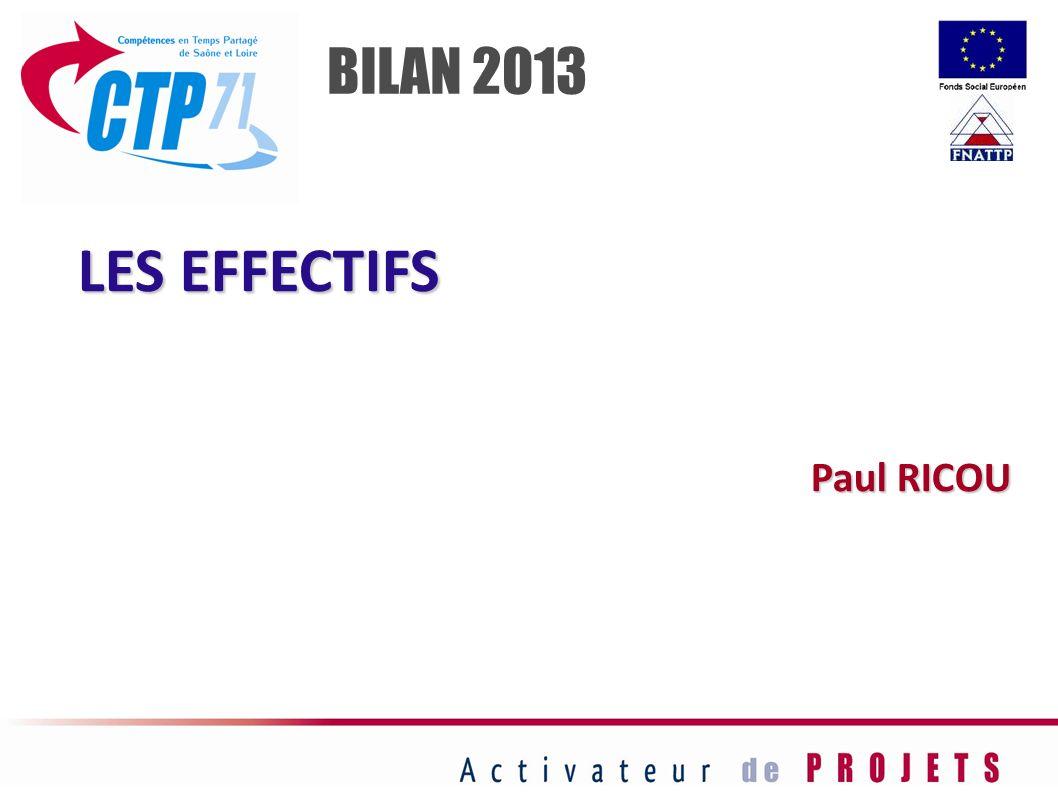 BILAN 2013 LES EFFECTIFS Paul RICOU 36