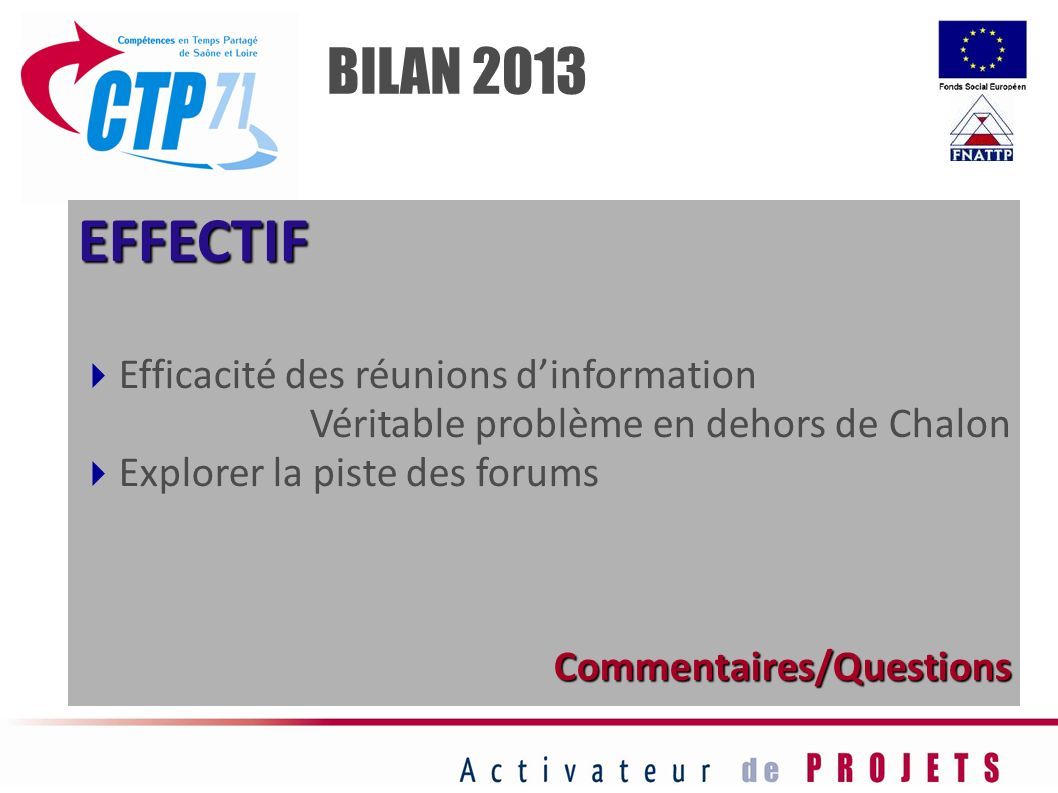 EFFECTIF BILAN 2013 Efficacité des réunions d'information