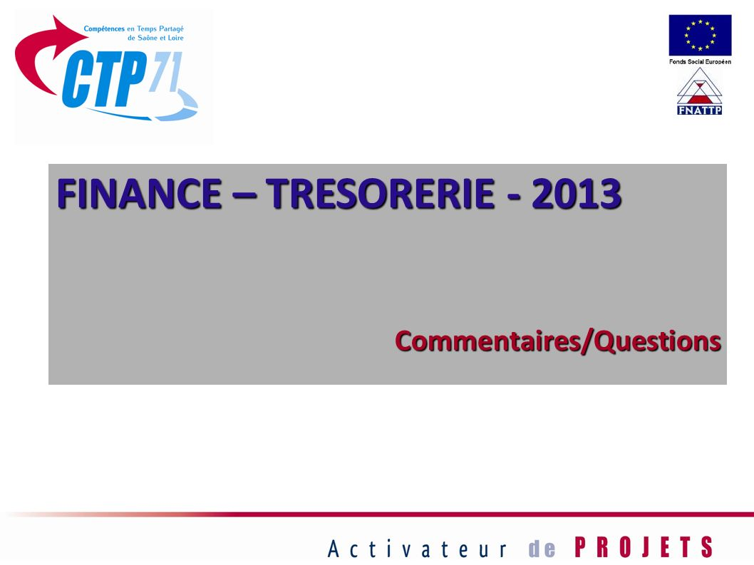 FINANCE – TRESORERIE - 2013 Commentaires/Questions 61