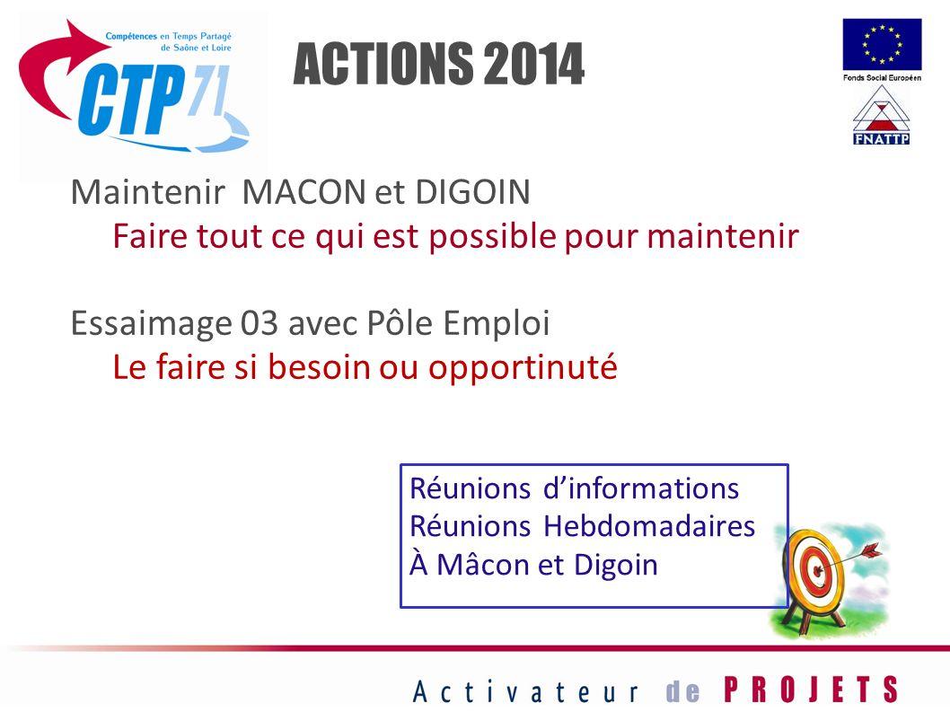ACTIONS 2014 Maintenir MACON et DIGOIN