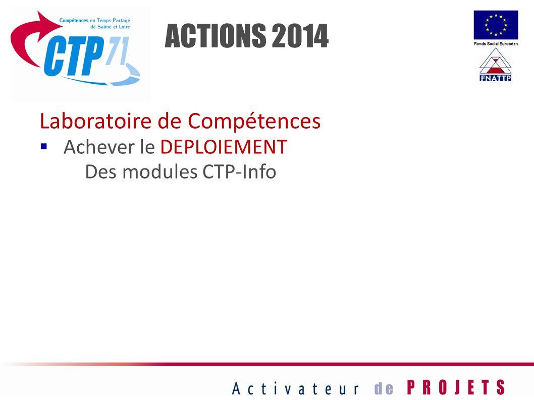 ACTIONS 2014 Laboratoire de Compétences Achever le DEPLOIEMENT