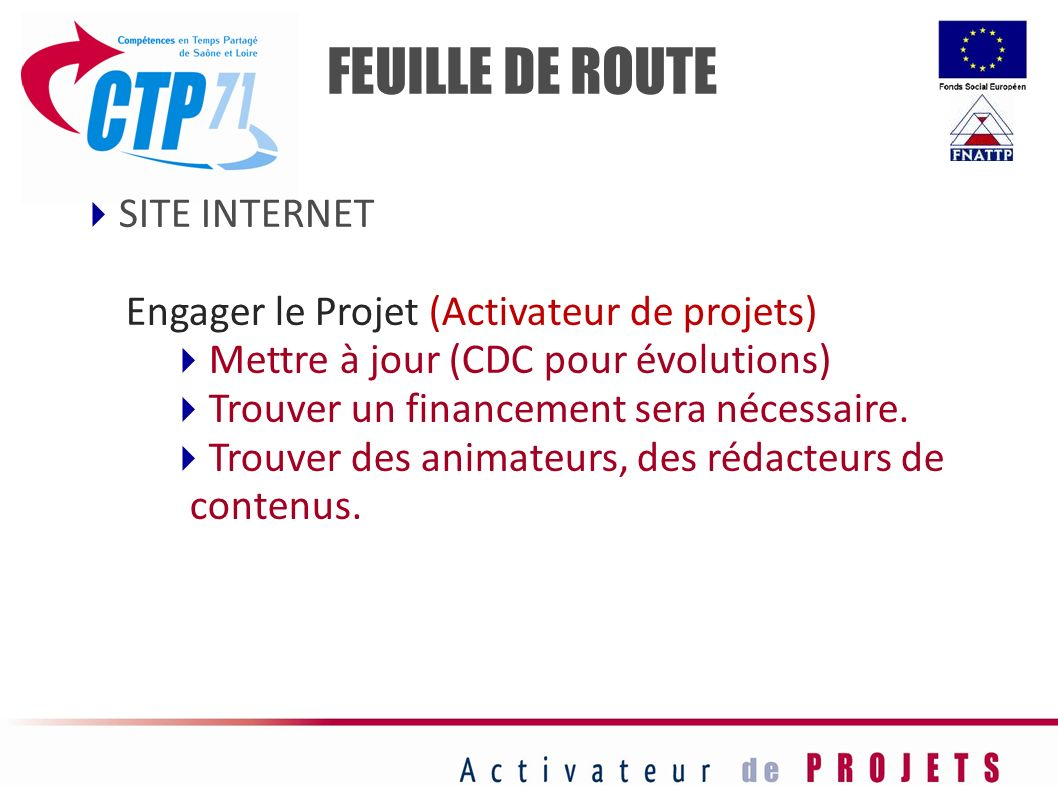 FEUILLE DE ROUTE SITE INTERNET