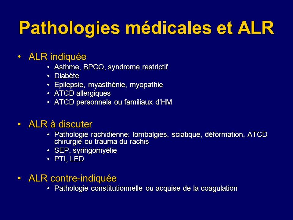 Pathologies médicales et ALR