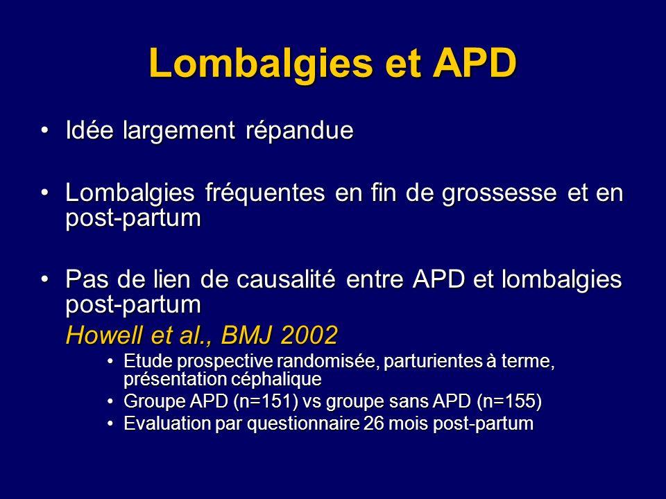 Lombalgies et APD Idée largement répandue