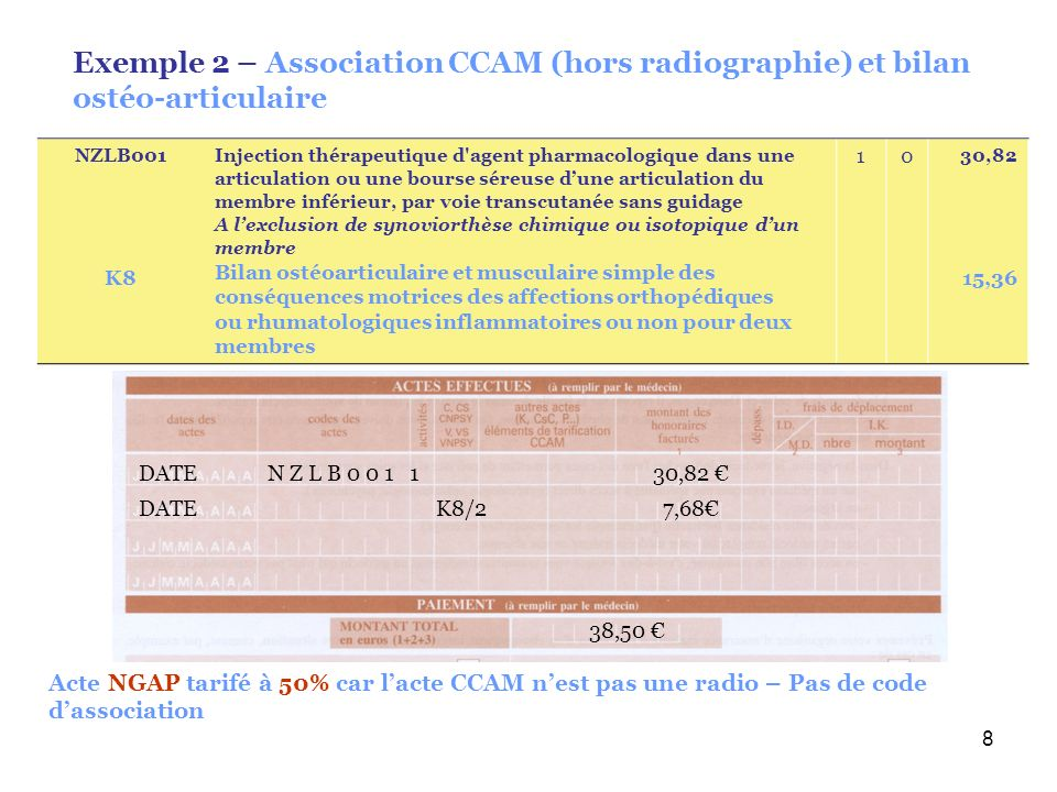 Exemple 2 – Association CCAM (hors radiographie) et bilan ostéo-articulaire