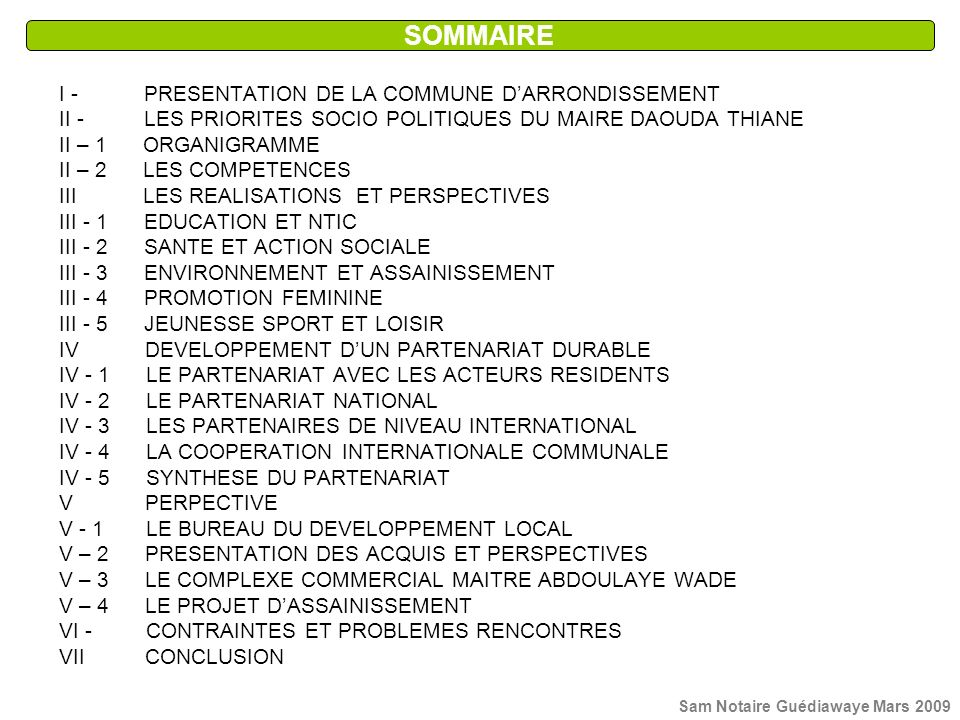 SOMMAIRE I - PRESENTATION DE LA COMMUNE D'ARRONDISSEMENT