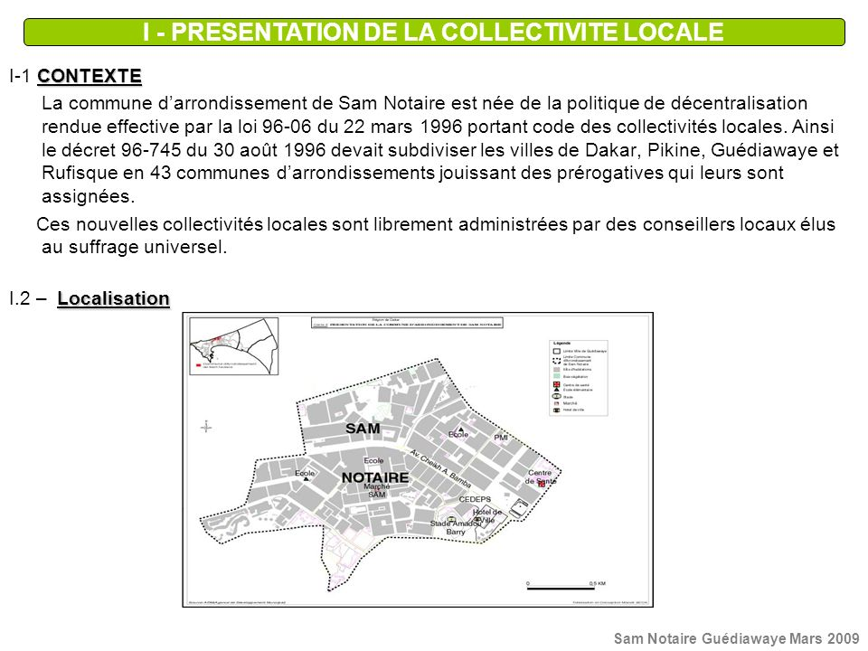I - PRESENTATION DE LA COLLECTIVITE LOCALE