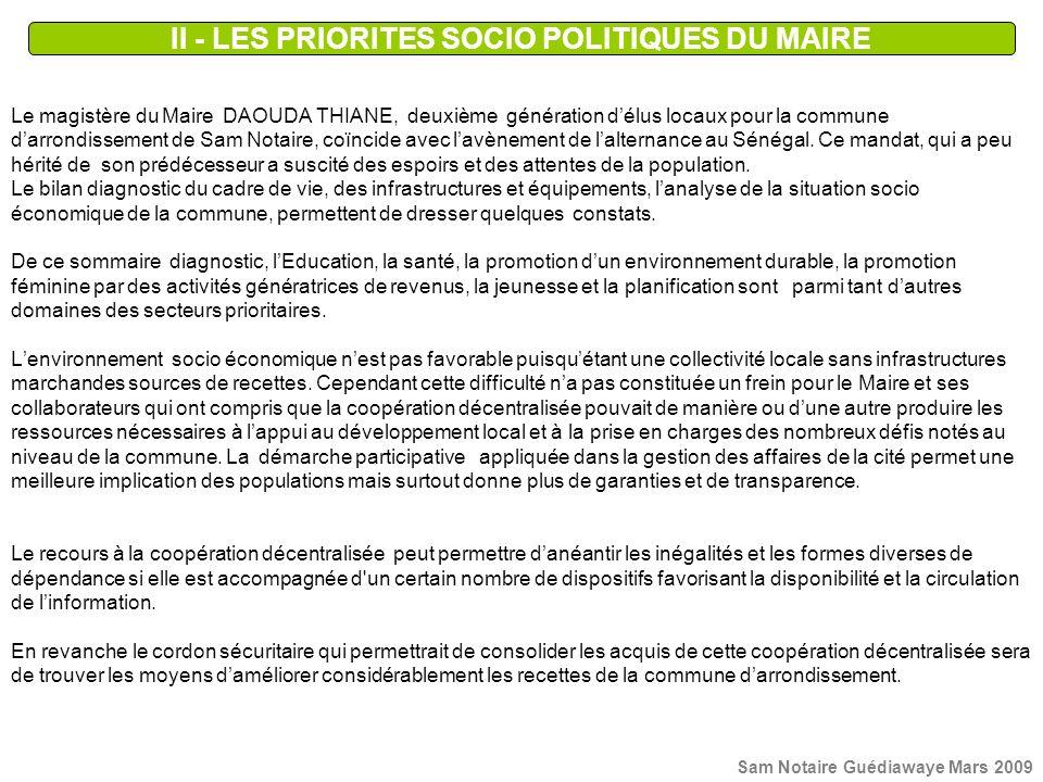 II - LES PRIORITES SOCIO POLITIQUES DU MAIRE