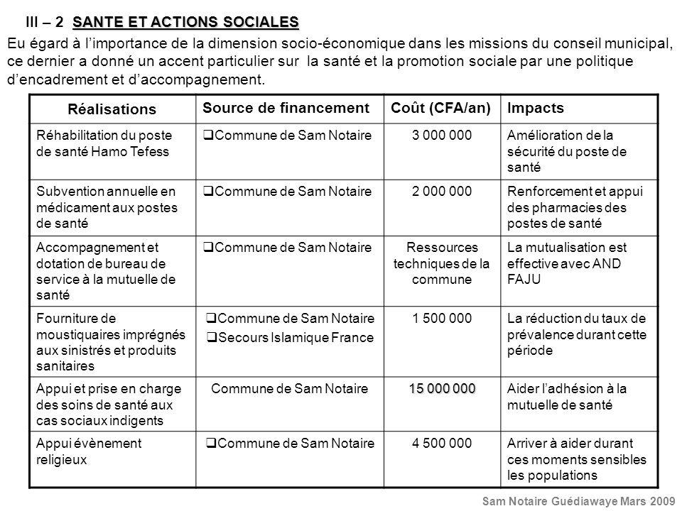 III – 2 SANTE ET ACTIONS SOCIALES