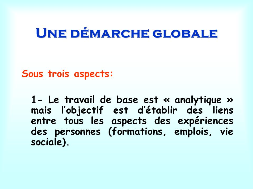 Une démarche globale Sous trois aspects: