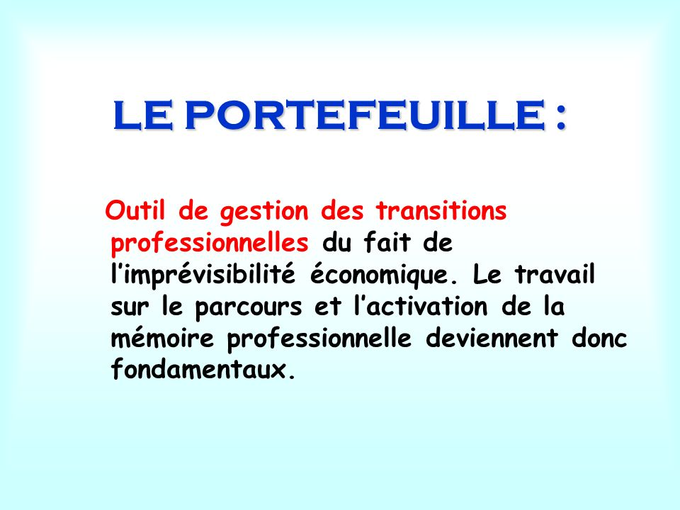 LE PORTEFEUILLE :
