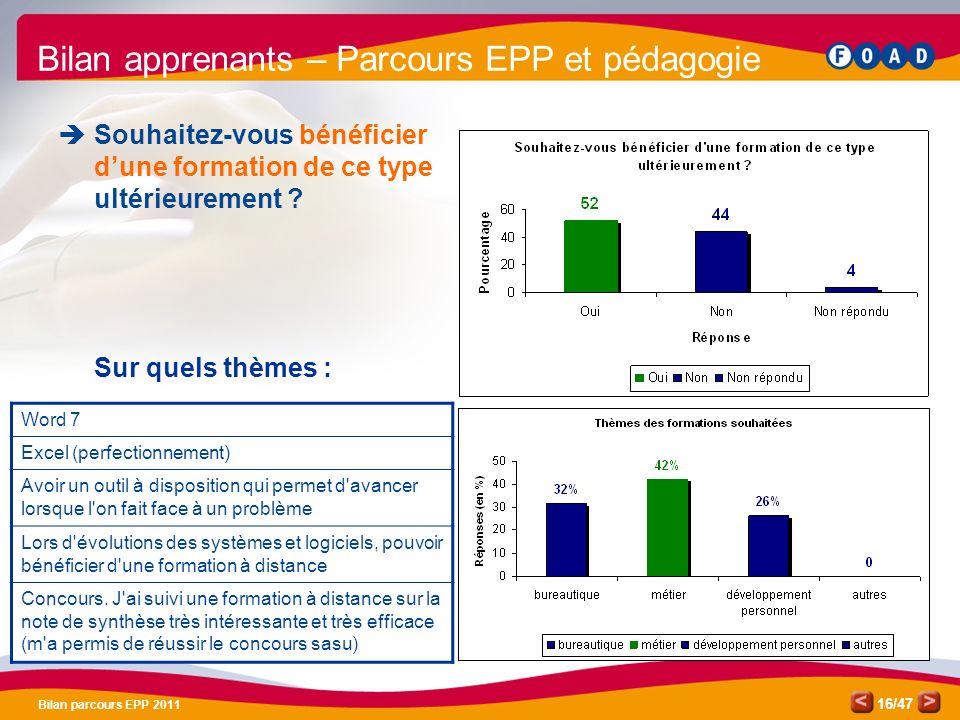Bilan apprenants – Parcours EPP et pédagogie