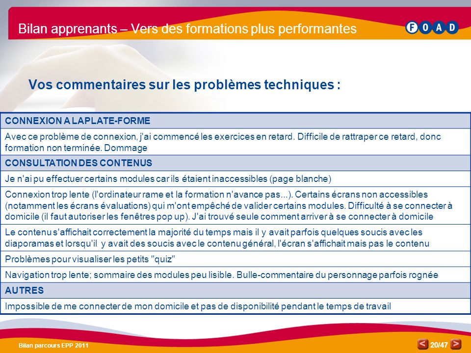 Bilan apprenants – Vers des formations plus performantes