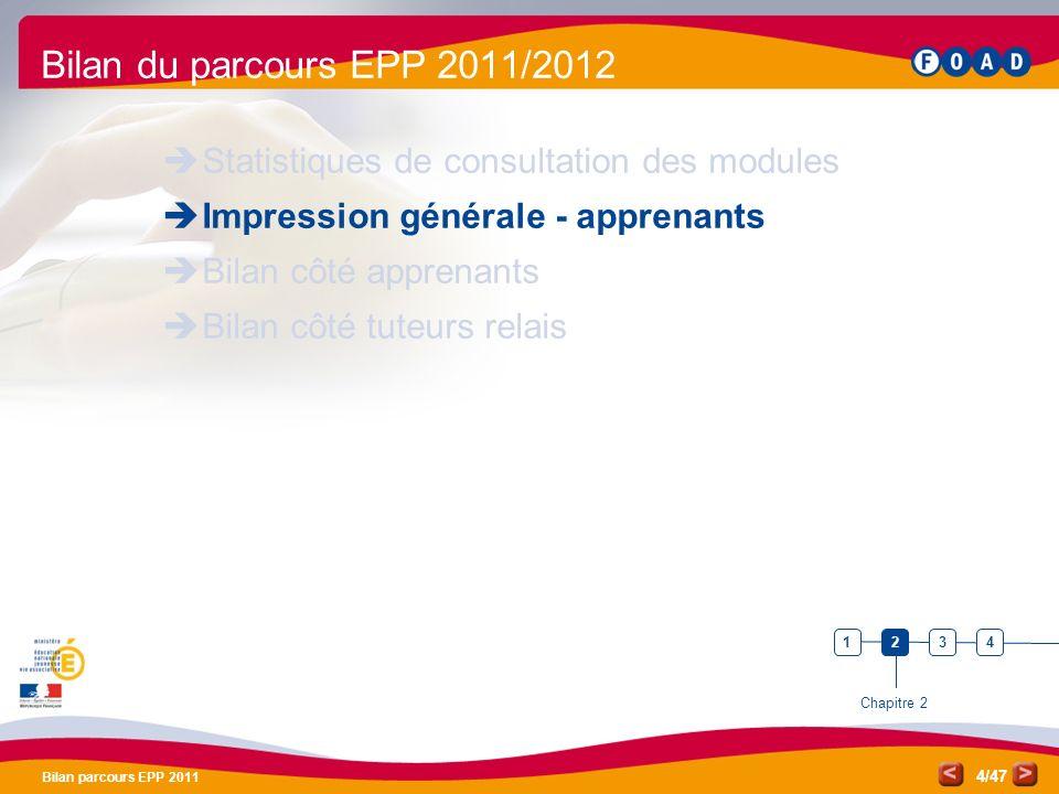 Bilan EPP 2011 Pôle de compétences FOAD. Bilan du parcours EPP 2011/2012. Statistiques de consultation des modules.