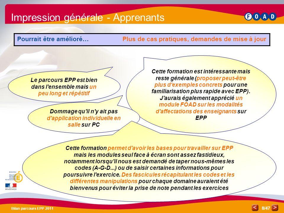 Impression générale - Apprenants
