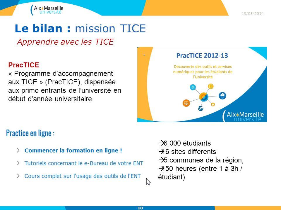 Le bilan : mission TICE Apprendre avec les TICE PracTICE