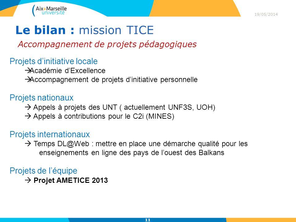 Le bilan : mission TICE Accompagnement de projets pédagogiques