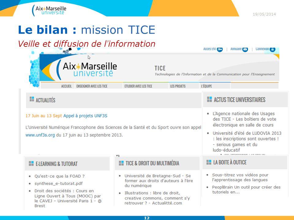 Le bilan : mission TICE Veille et diffusion de l'information