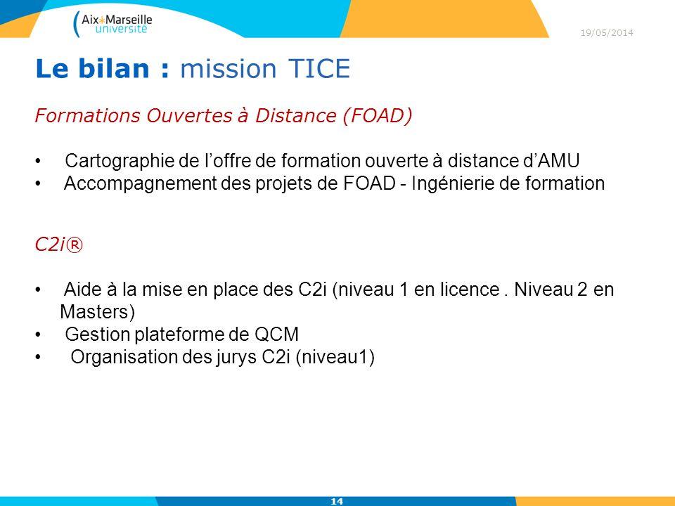 Le bilan : mission TICE Formations Ouvertes à Distance (FOAD)