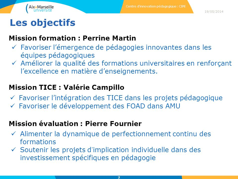 Les objectifs Mission formation : Perrine Martin