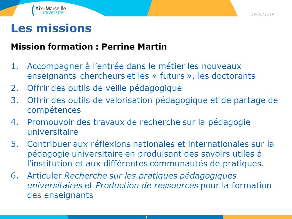 Les missions Mission formation : Perrine Martin