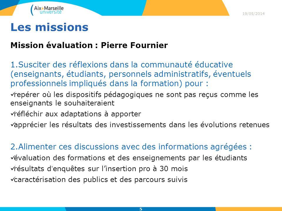 Les missions Mission évaluation : Pierre Fournier