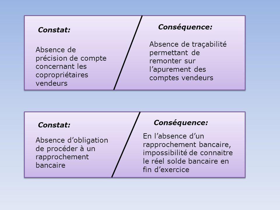Constat: Conséquence: Absence de précision de compte concernant les copropriétaires vendeurs.