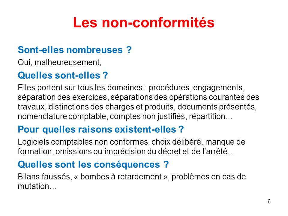Les non-conformités Sont-elles nombreuses Quelles sont-elles