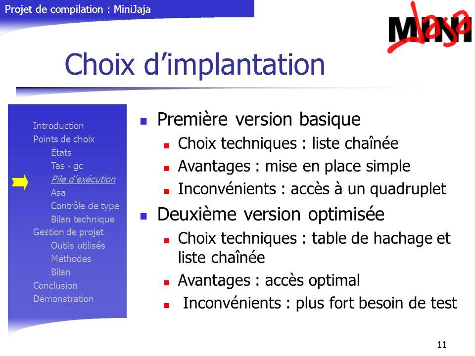 Choix d'implantation Première version basique